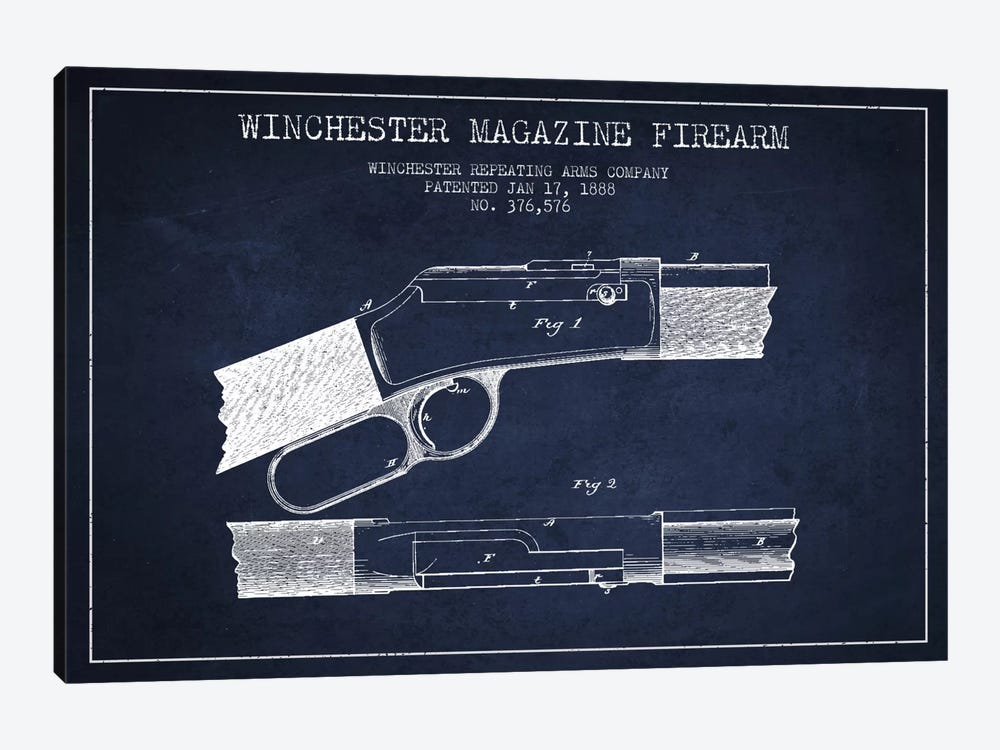 Winchester Fire Arm Navy Blue Patent Blueprint by Aged Pixel 1-piece Art Print