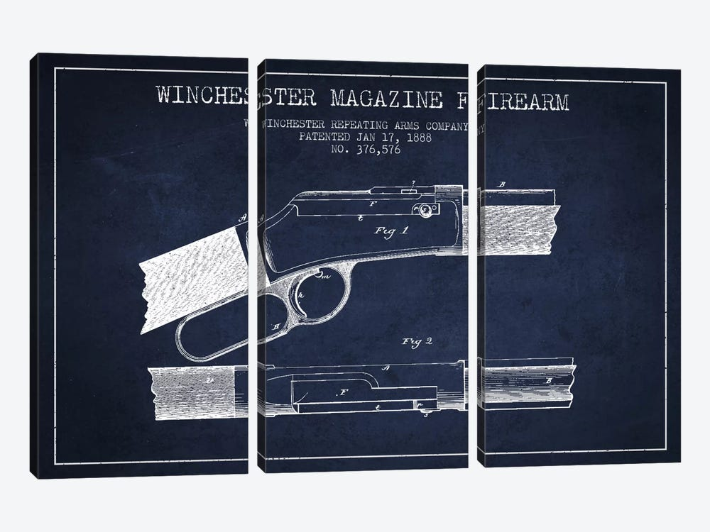 Winchester Fire Arm Navy Blue Patent Blueprint by Aged Pixel 3-piece Canvas Print
