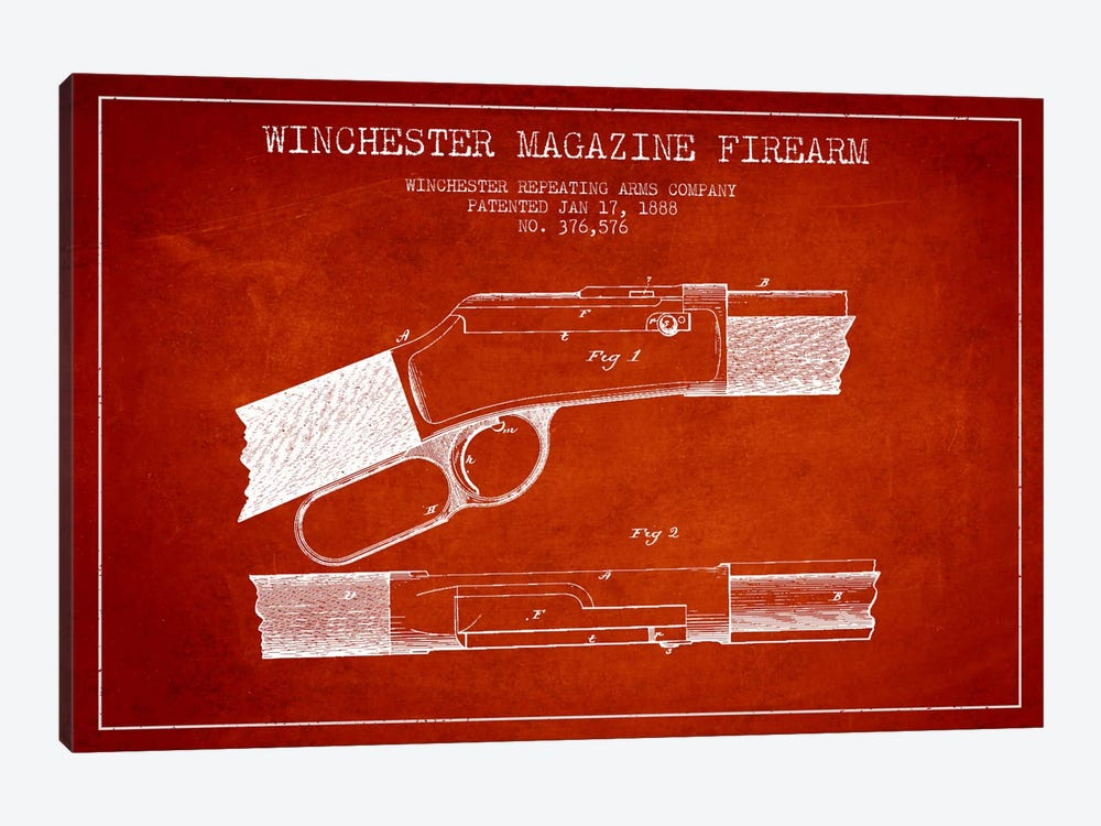 Winchester Fire Arm Red Patent Blueprint by Aged Pixel 1-piece Canvas Wall Art