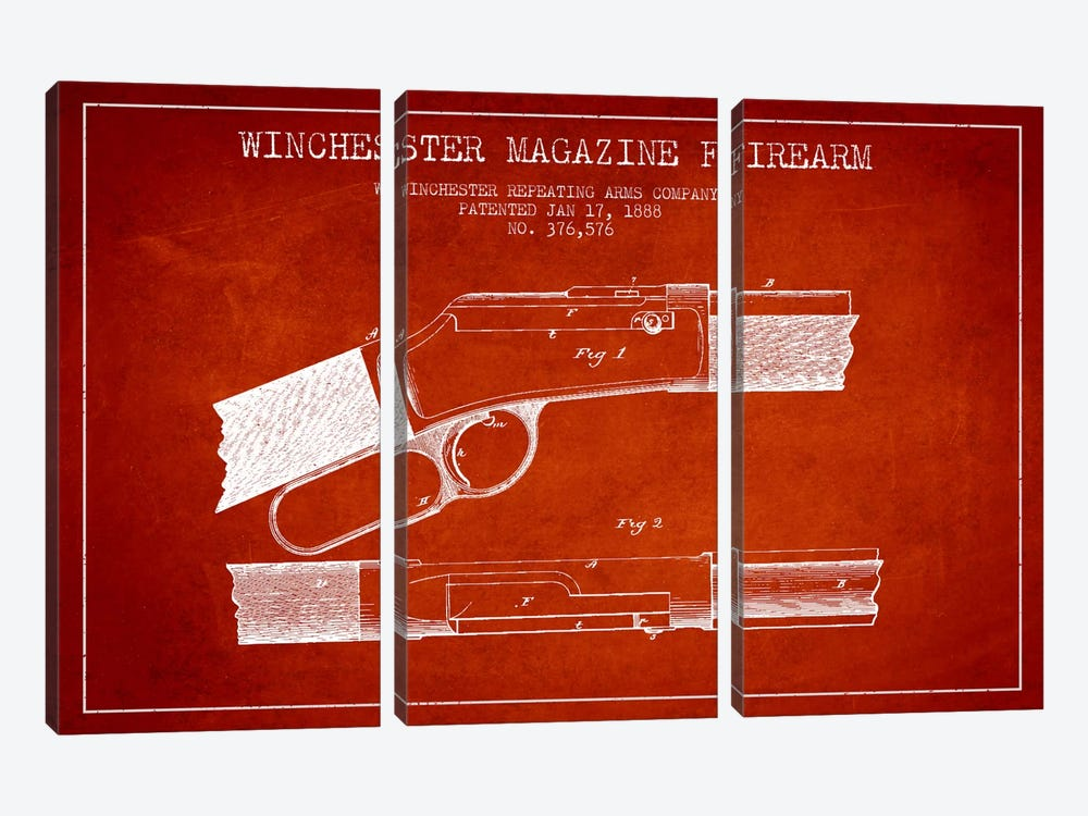 Winchester Fire Arm Red Patent Blueprint by Aged Pixel 3-piece Canvas Artwork