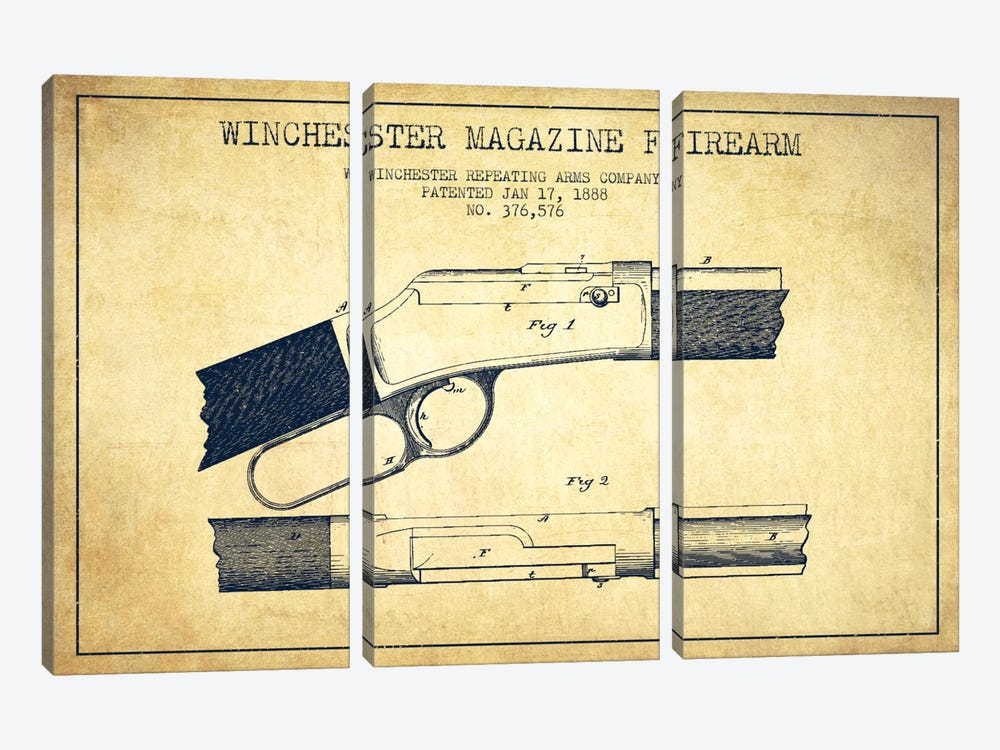 Winchester Fire Arm Vintage Patent Blueprint by Aged Pixel 3-piece Art Print