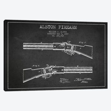 Alston Firearm Charcoal Patent Blueprint Canvas Print #ADP1384} by Aged Pixel Canvas Wall Art