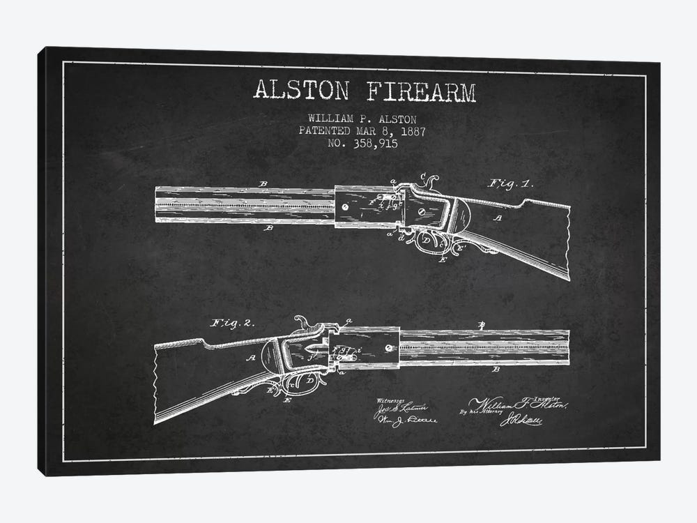 Alston Firearm Charcoal Patent Blueprint by Aged Pixel 1-piece Canvas Art