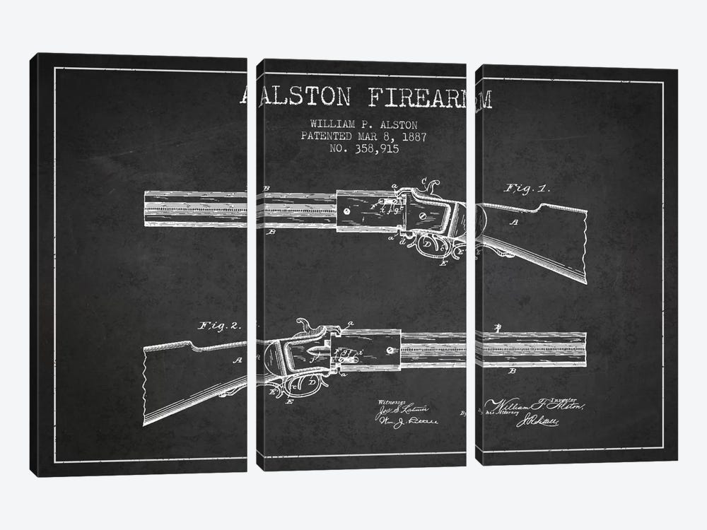 Alston Firearm Charcoal Patent Blueprint by Aged Pixel 3-piece Canvas Artwork