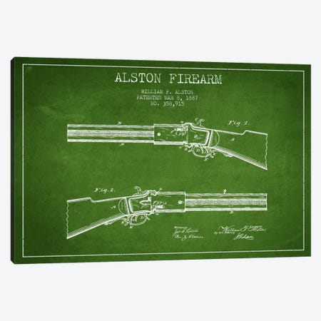 Alston Firearm Green Patent Blueprint Canvas Print #ADP1385} by Aged Pixel Canvas Art