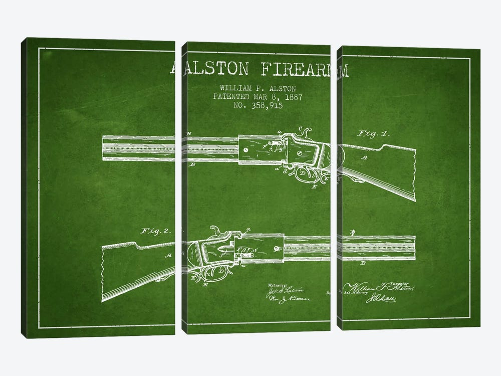 Alston Firearm Green Patent Blueprint by Aged Pixel 3-piece Canvas Print