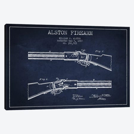 Alston Firearm Navy Blue Patent Blueprint Canvas Print #ADP1386} by Aged Pixel Canvas Wall Art