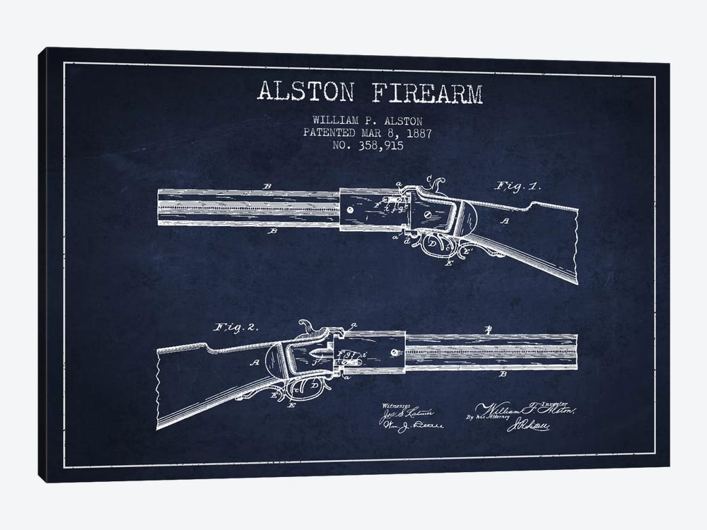 Alston Firearm Navy Blue Patent Blueprint by Aged Pixel 1-piece Canvas Artwork