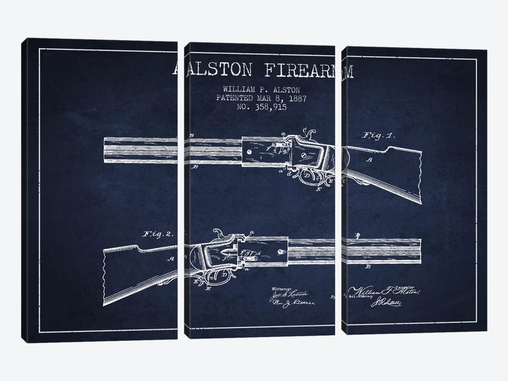 Alston Firearm Navy Blue Patent Blueprint by Aged Pixel 3-piece Canvas Art
