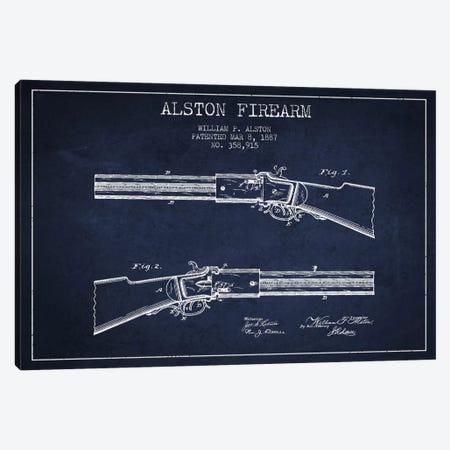 Alston Firearm Navy Blue Patent Blueprint Canvas Print #ADP1386} by Aged Pixel Canvas Wall Art