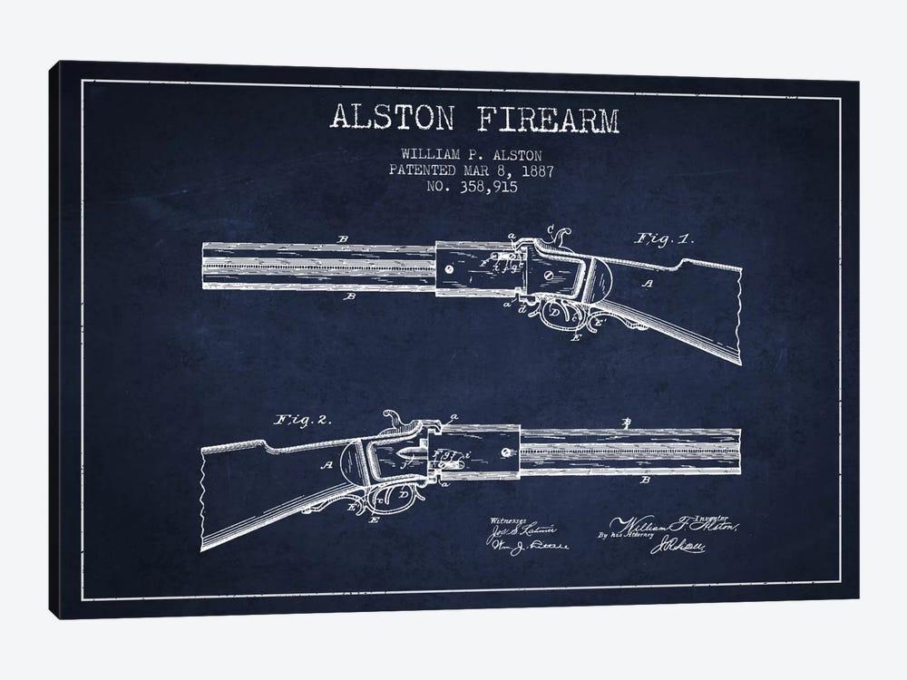 Alston Firearm Navy Blue Patent Blueprint by Aged Pixel 1-piece Canvas Artwork