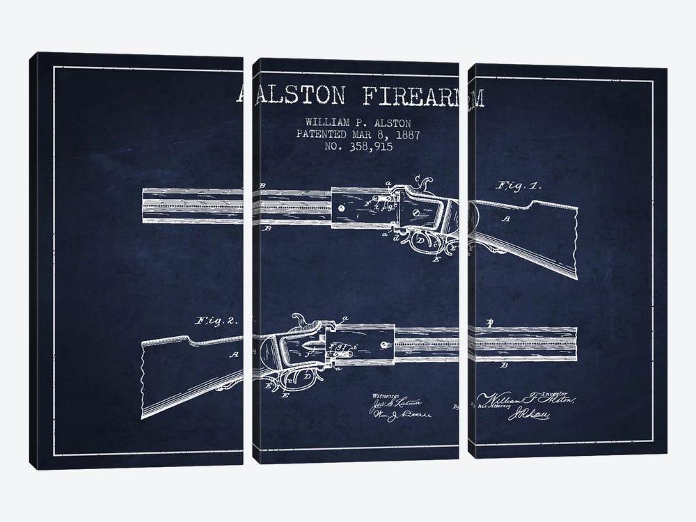 Alston Firearm Navy Blue Patent Blueprint by Aged Pixel 3-piece Canvas Art