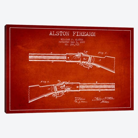 Alston Firearm Red Patent Blueprint Canvas Print #ADP1387} by Aged Pixel Canvas Art