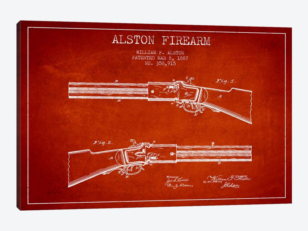 Alston Firearm Red Patent Blueprint by Aged Pixel 1-piece Canvas Print