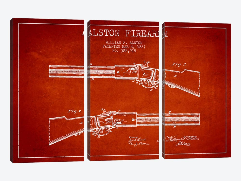 Alston Firearm Red Patent Blueprint by Aged Pixel 3-piece Canvas Art Print
