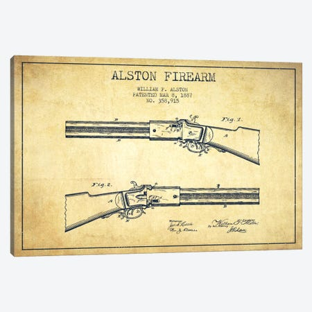 Alston Firearm Vintage Patent Blueprint Canvas Print #ADP1388} by Aged Pixel Art Print
