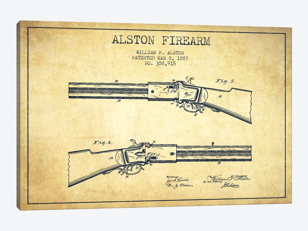 Alston Firearm Vintage Patent Blueprint by Aged Pixel 1-piece Canvas Wall Art