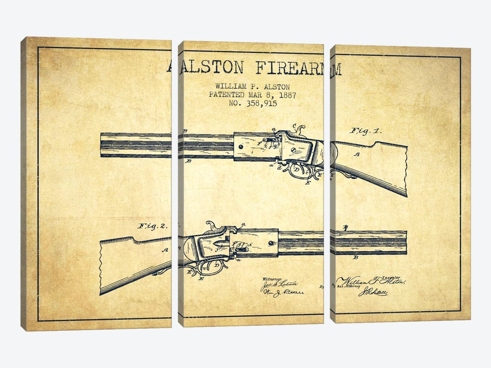 Alston Firearm Vintage Patent Blueprint by Aged Pixel 3-piece Canvas Artwork