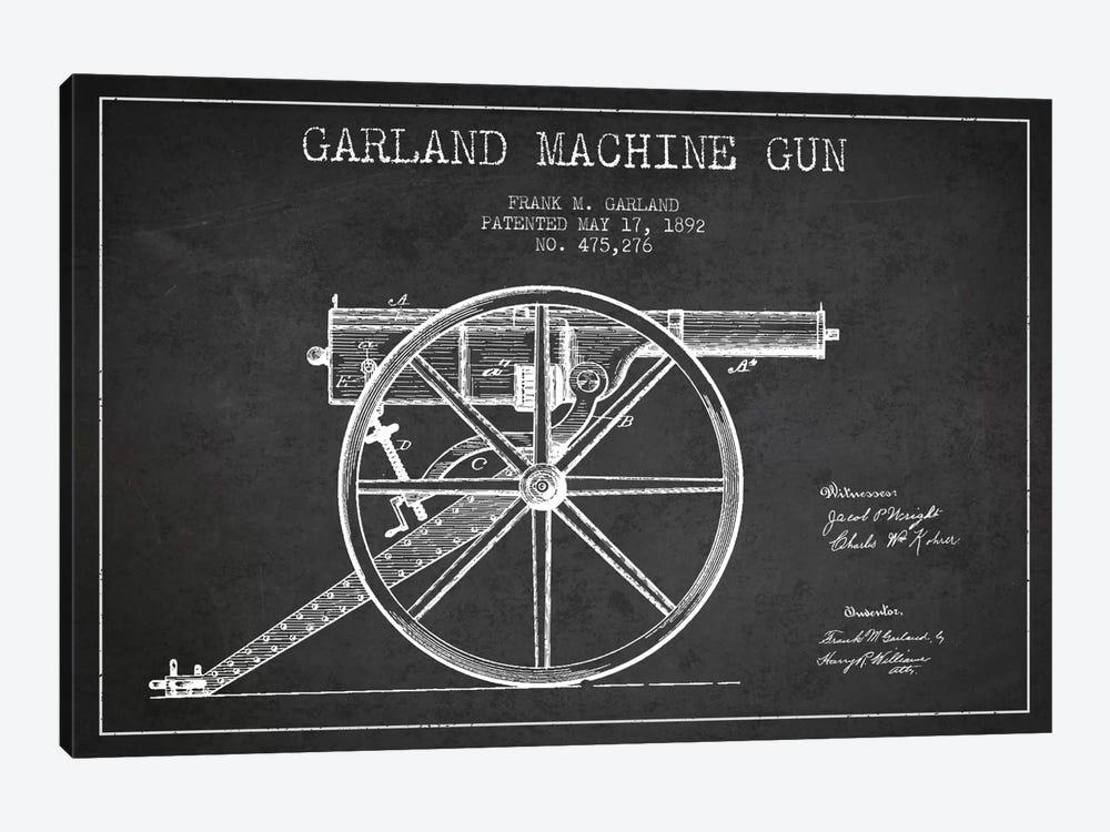 Garland Gun Charcoal Patent Blueprint by Aged Pixel 1-piece Canvas Art Print