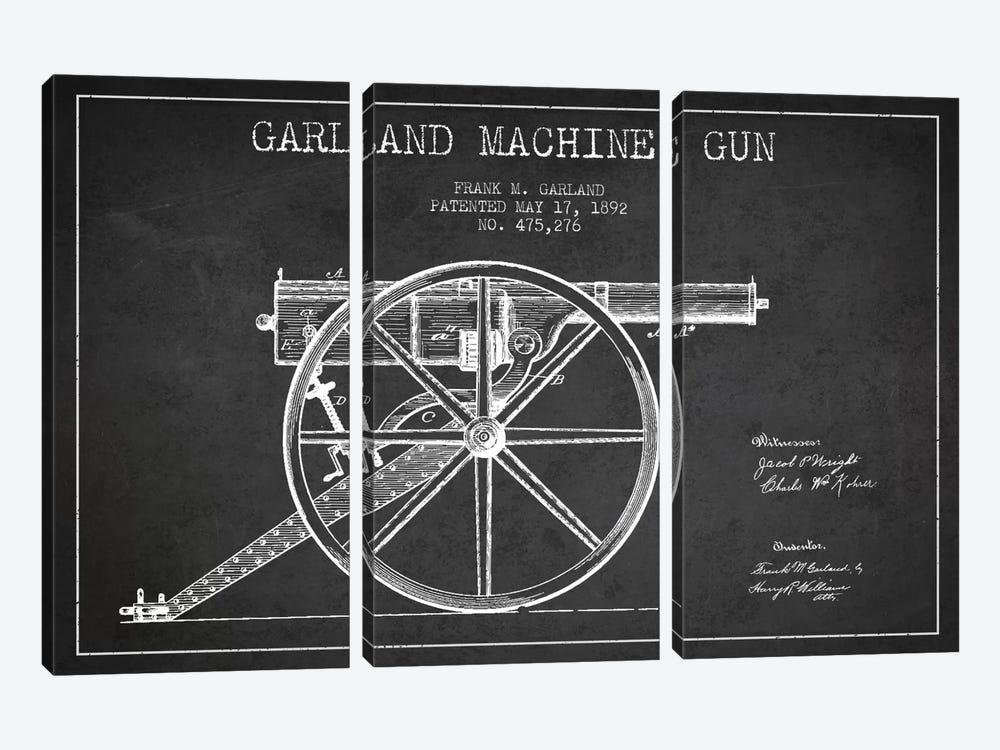 Garland Gun Charcoal Patent Blueprint by Aged Pixel 3-piece Art Print