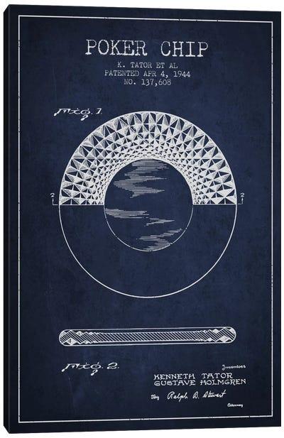 Poker Chip 1 Navy Blue Patent Blueprint Canvas Print #ADP138