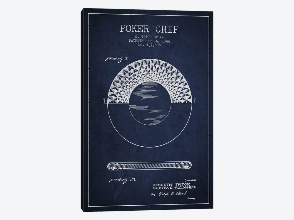 Poker Chip 1 Navy Blue Patent Blueprint by Aged Pixel 1-piece Canvas Print