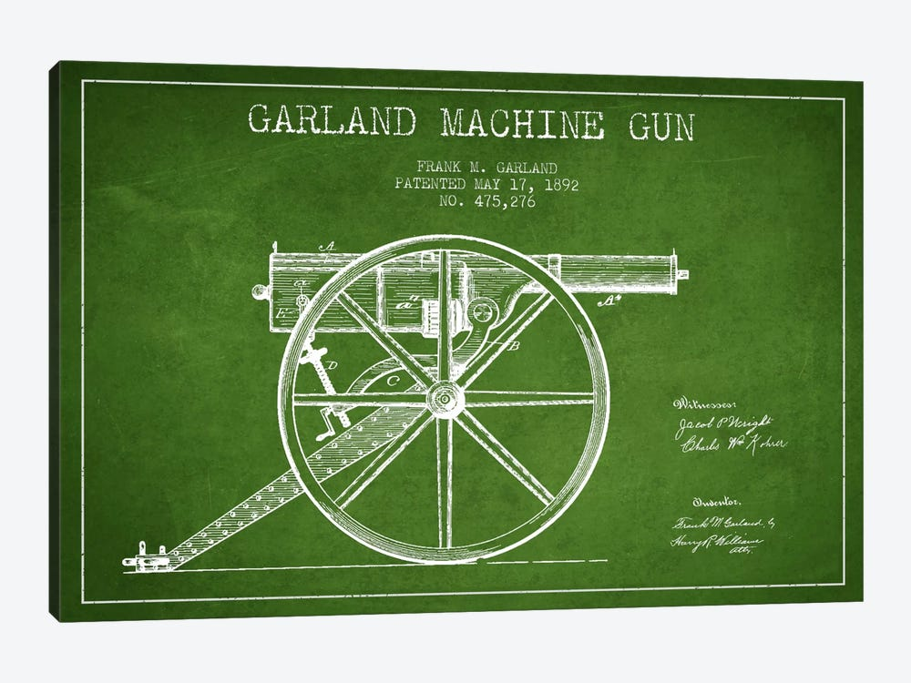 Garland Gun Green Patent Blueprint by Aged Pixel 1-piece Canvas Print