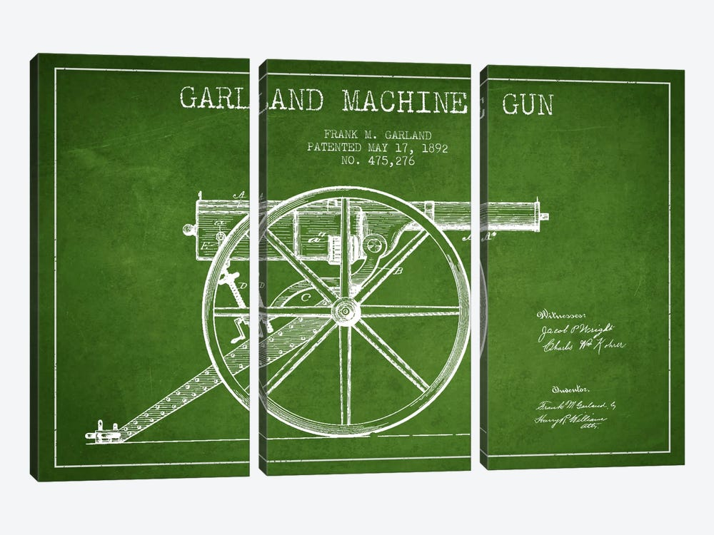 Garland Gun Green Patent Blueprint by Aged Pixel 3-piece Canvas Art Print