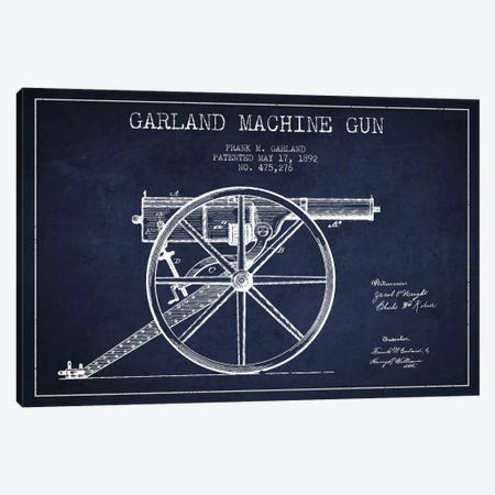 Garland Gun Navy Blue Patent Blueprint Canvas Print #ADP1391} by Aged Pixel Canvas Wall Art