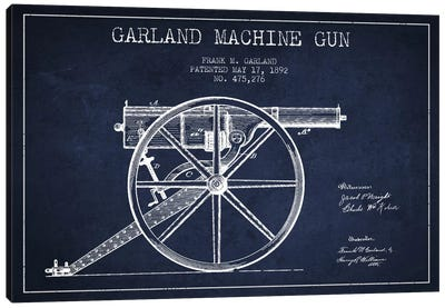 Garland Gun Navy Blue Patent Blueprint Canvas Art Print