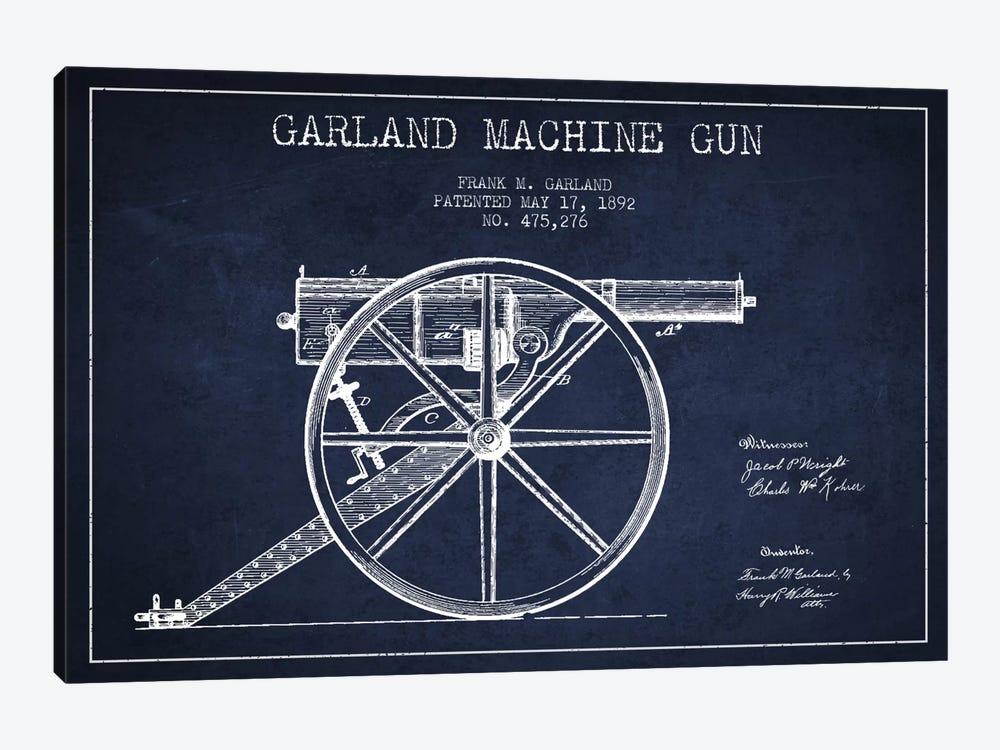 Garland Gun Navy Blue Patent Blueprint by Aged Pixel 1-piece Canvas Wall Art