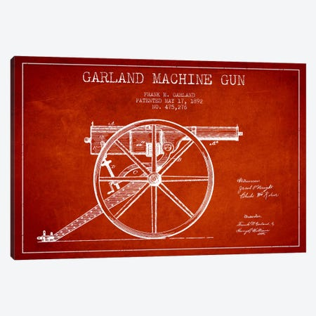 Garland Gun Red Patent Blueprint Canvas Print #ADP1392} by Aged Pixel Canvas Wall Art
