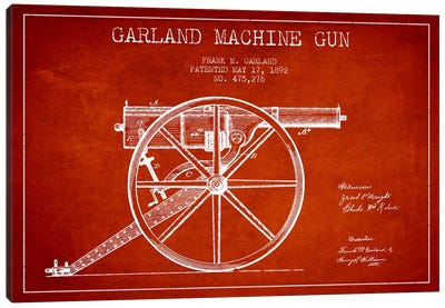 Garland Gun Red Patent Blueprint Canvas Art Print