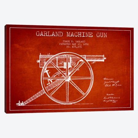 Garland Gun Red Patent Blueprint Canvas Print #ADP1392} by Aged Pixel Canvas Wall Art