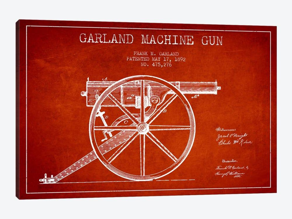 Garland Gun Red Patent Blueprint by Aged Pixel 1-piece Canvas Print
