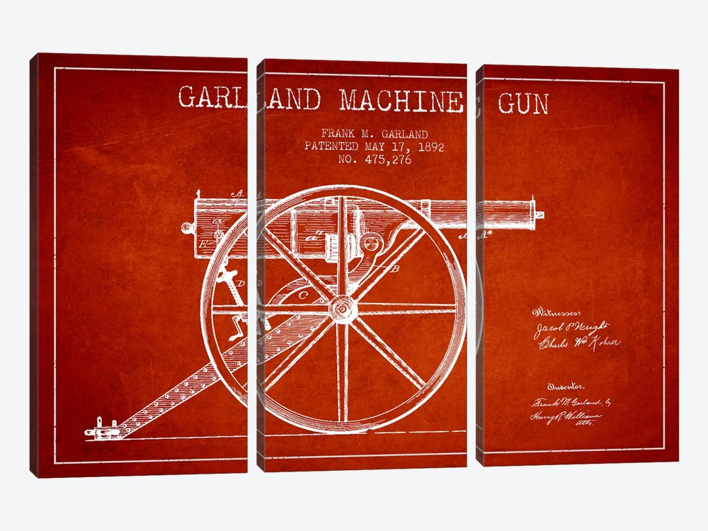 Garland Gun Red Patent Blueprint by Aged Pixel 3-piece Canvas Print