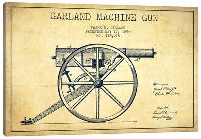 Garland Gun Vintage Patent Blueprint Canvas Art Print