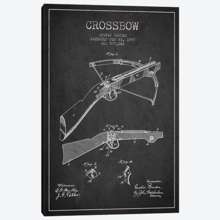 Crossbow 1 Charcoal Patent Blueprint Canvas Print #ADP1394} by Aged Pixel Canvas Art Print