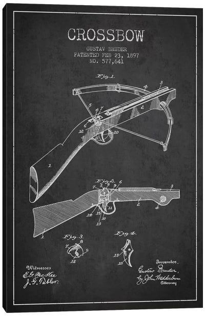 Crossbow 1 Charcoal Patent Blueprint Canvas Art Print