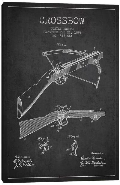 Crossbow 1 Charcoal Patent Blueprint Canvas Art Print