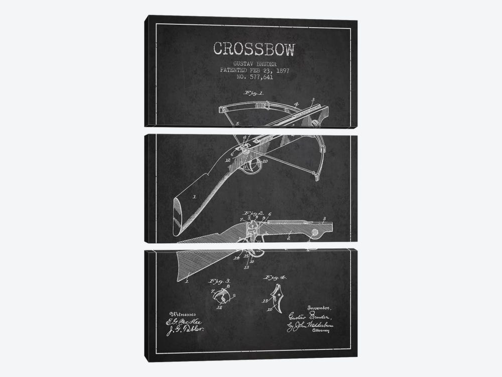 Crossbow 1 Charcoal Patent Blueprint by Aged Pixel 3-piece Art Print