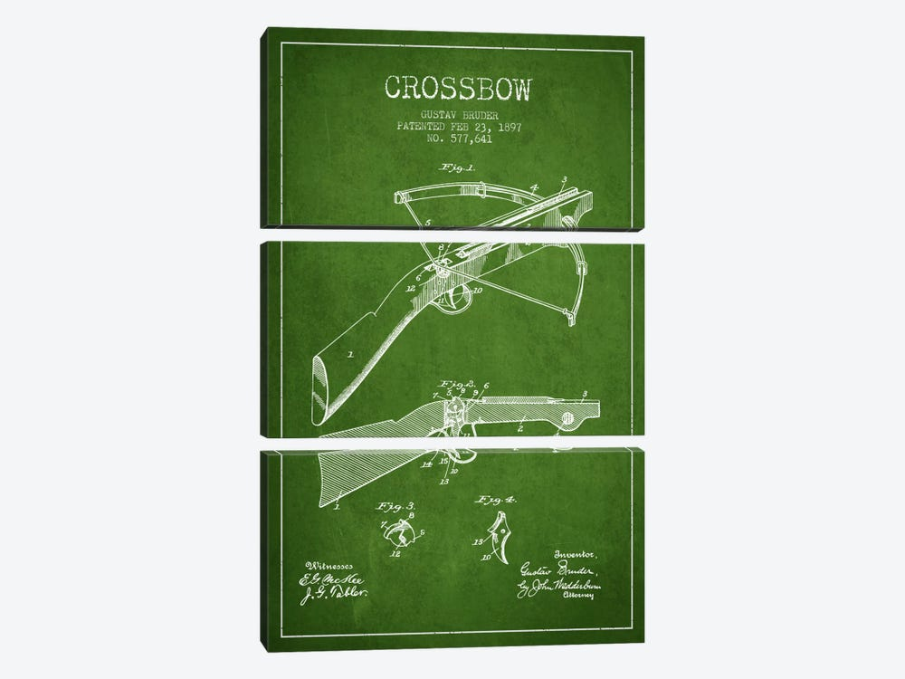 Crossbow 1 Green Patent Blueprint by Aged Pixel 3-piece Canvas Art