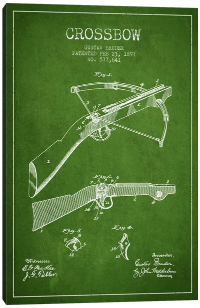 Crossbow 1 Green Patent Blueprint Canvas Art Print