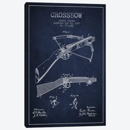 Crossbow Bow 1 Navy Blue Patent Blueprint Canvas Print #ADP1396} by Aged Pixel Art Print
