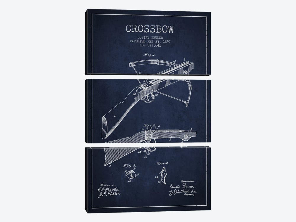 Crossbow Bow 1 Navy Blue Patent Blueprint by Aged Pixel 3-piece Canvas Art Print
