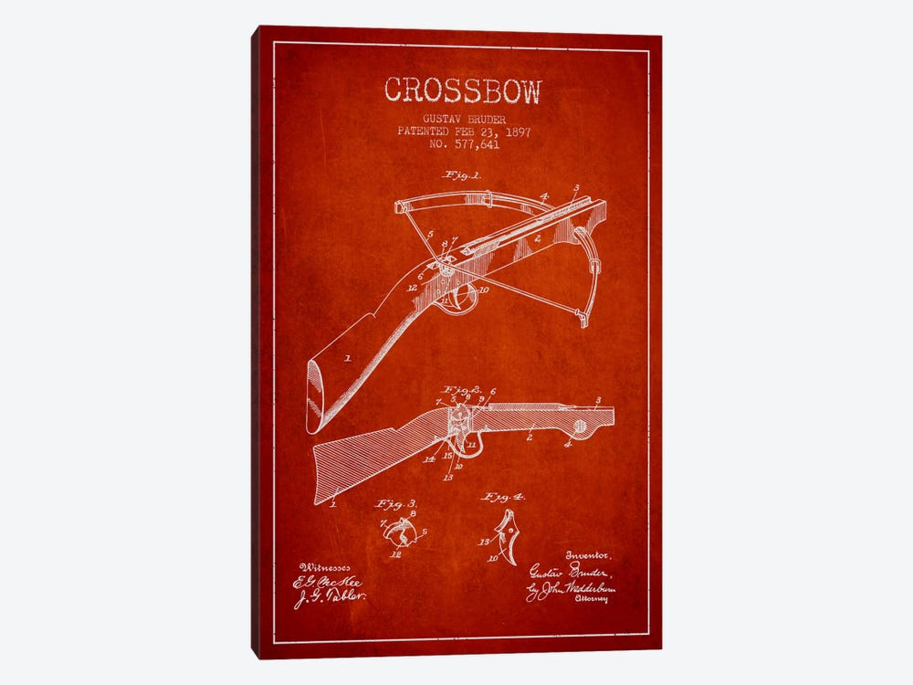 Crossbow 1 Red Patent Blueprint by Aged Pixel 1-piece Canvas Art