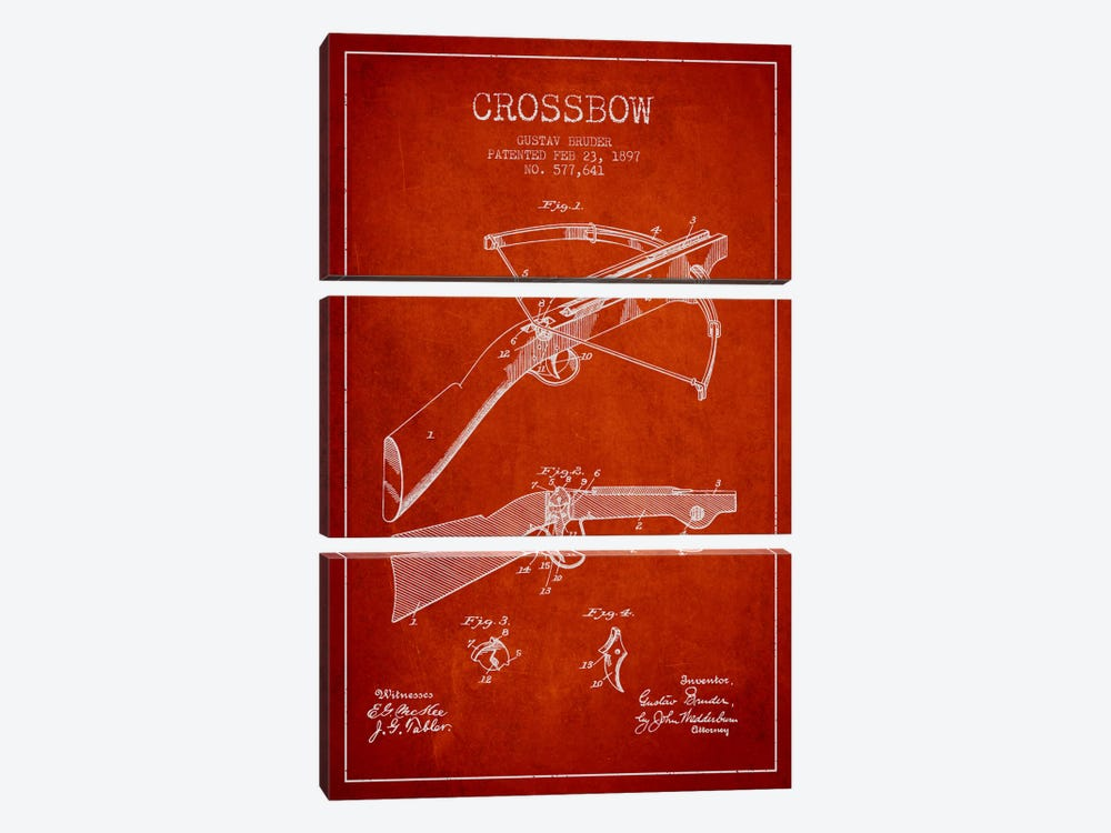 Crossbow 1 Red Patent Blueprint by Aged Pixel 3-piece Canvas Wall Art