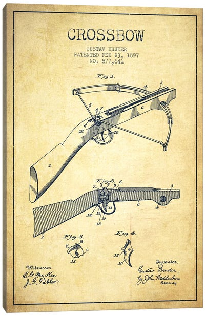 Crossbow 1 Vintage Patent Blueprint Canvas Art Print