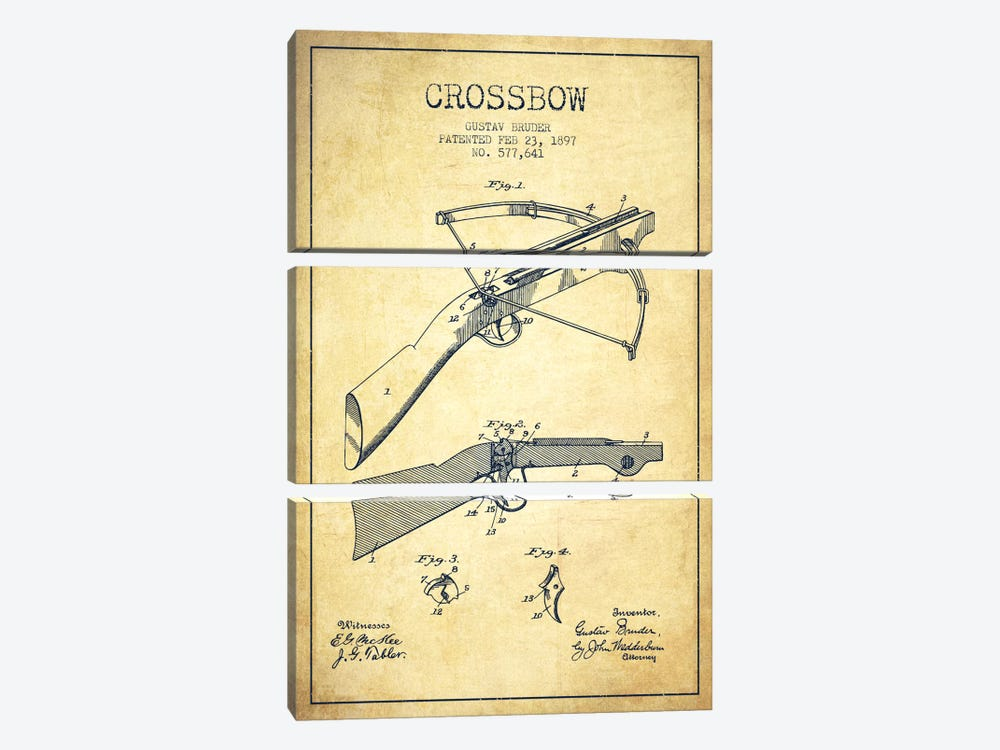 Crossbow 1 Vintage Patent Blueprint by Aged Pixel 3-piece Canvas Print