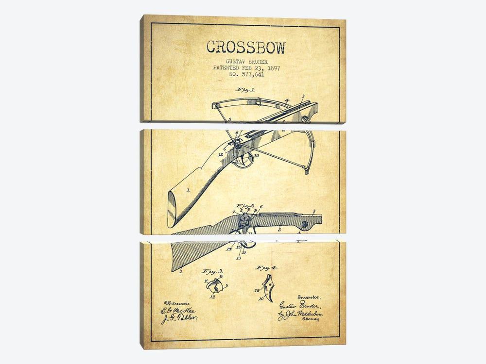 Crossbow 1 Vintage Patent Blueprint by Aged Pixel 3-piece Canvas Print